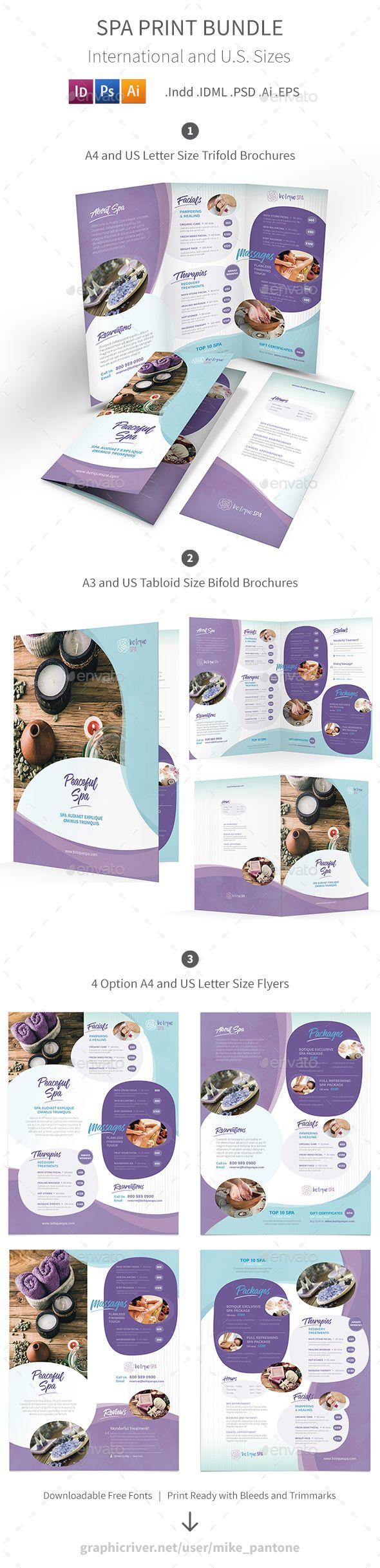 Spa Print Bundle 8   Folletos, Folleto tríptico y Tríptico