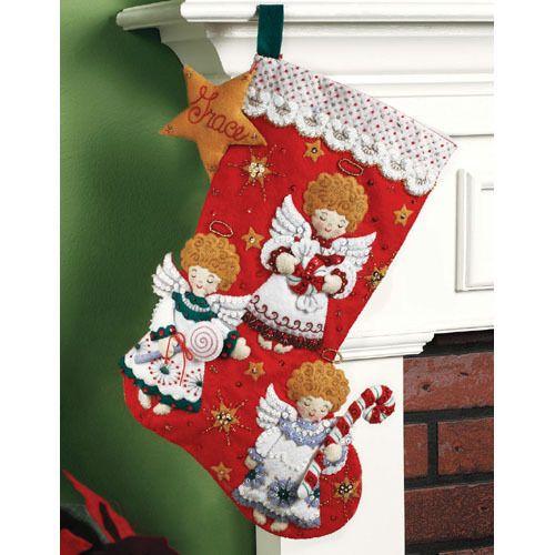 "Bucilla CHRISTMAS ""CANDY ANGELS"" Felt Christmas Stocking Kit Factory Direct 18"""