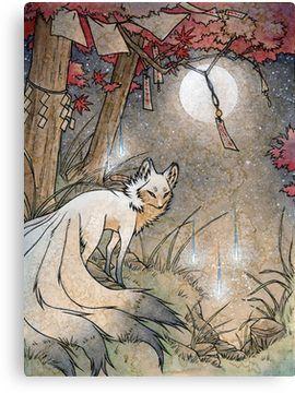 'Fox & Wisps - Kitsune Yokai Foxfire ' Canvas Print by TeaKitsune