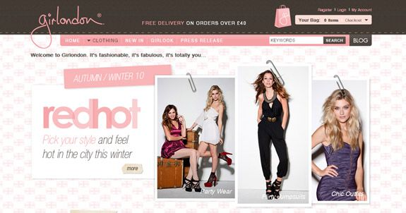 Girl London Chic And Feminine Website Background Design Ecommerce Website Design Cool Websites