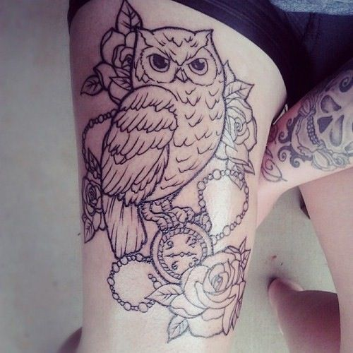 Pin By Jasmine Beane On Tattoo Ideas Thigh Tattoos Women Upper Leg Tattoos Owl Thigh Tattoos