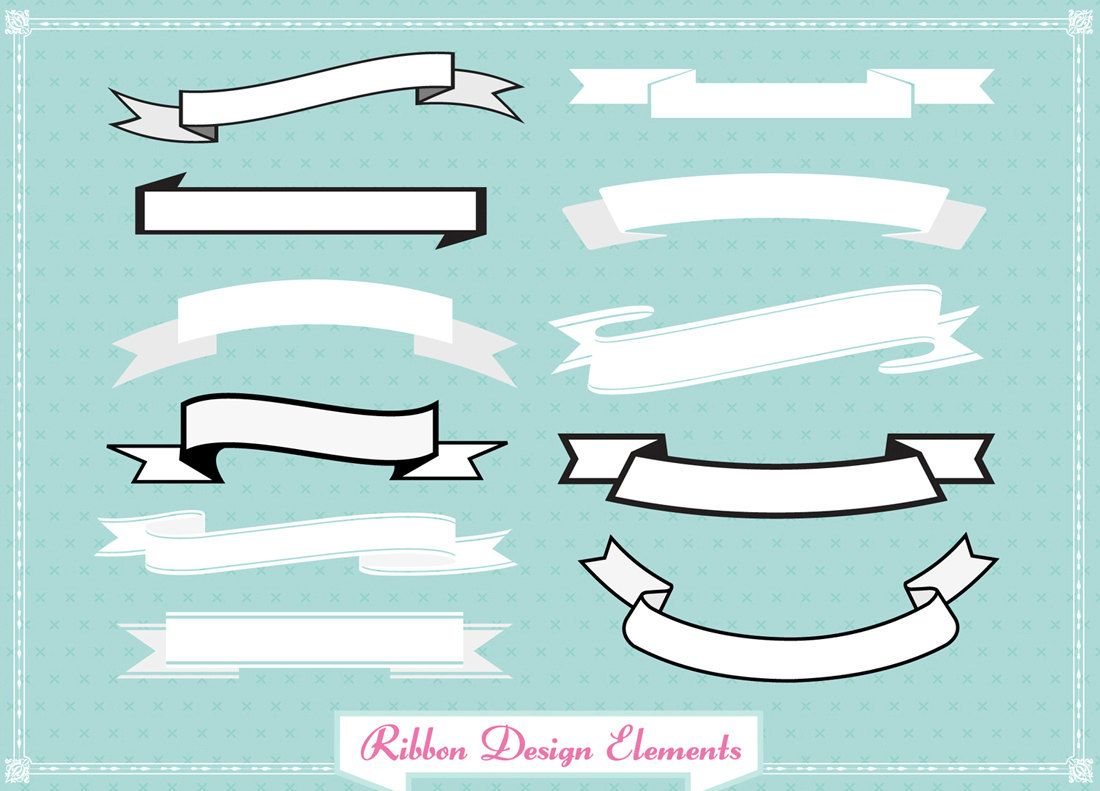 Ribbon Banner set clip art for digital scrapbooking, labels ...