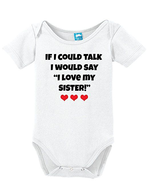I Love My Sister This Much New Funny Personalised Baby Vest Bodysuits Boys Girls