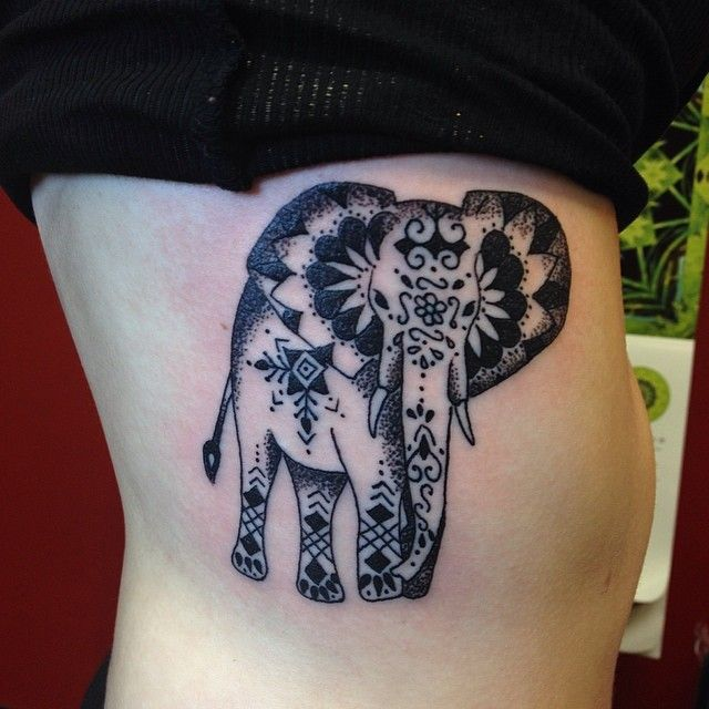 Henna Elephant Tattoo Designs: Dotwork Henna Elephant Done This