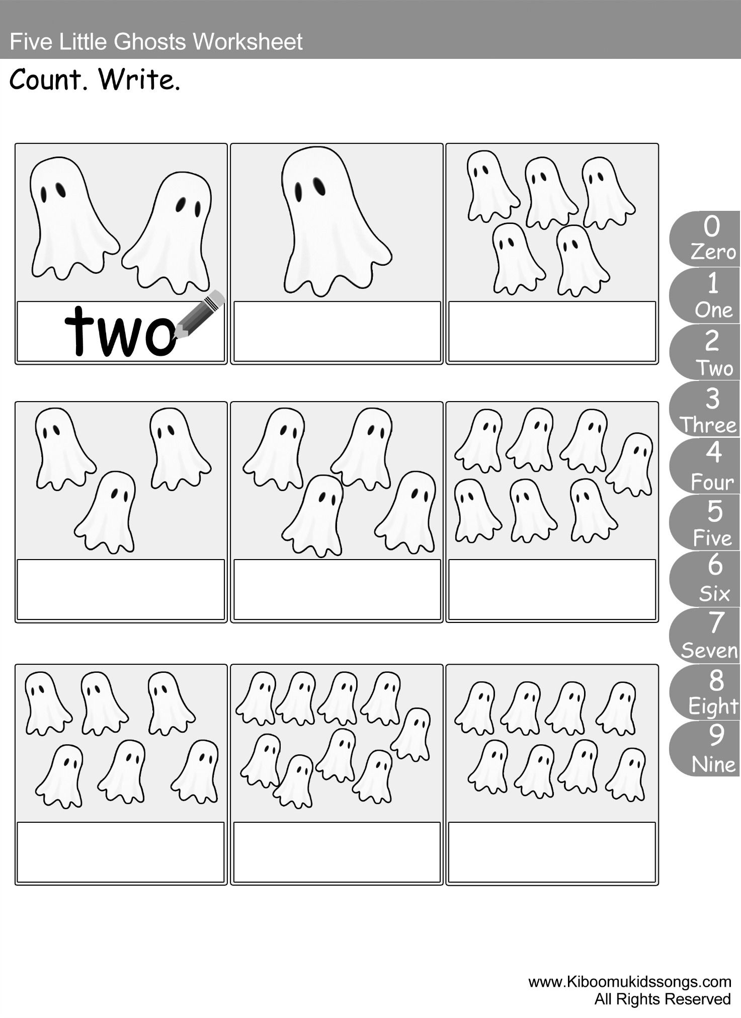 5 Little Ghosts Song And Count And Color Worksheet
