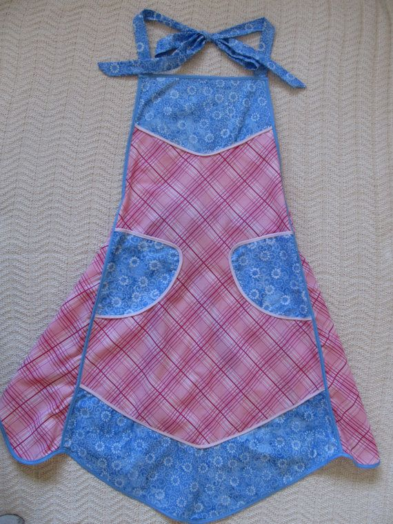 Blue and Pink Cotton Apron by SusanDeanne on Etsy