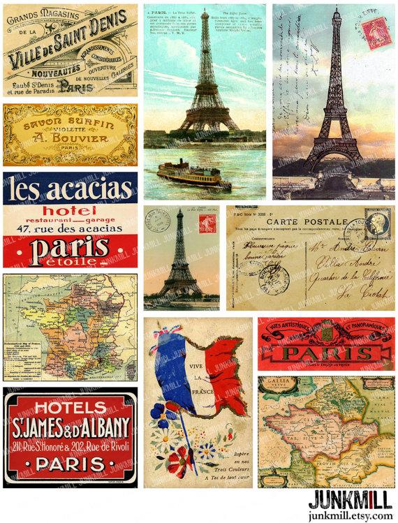 Travel France - Digital Printable Collage Sheet - Vintage