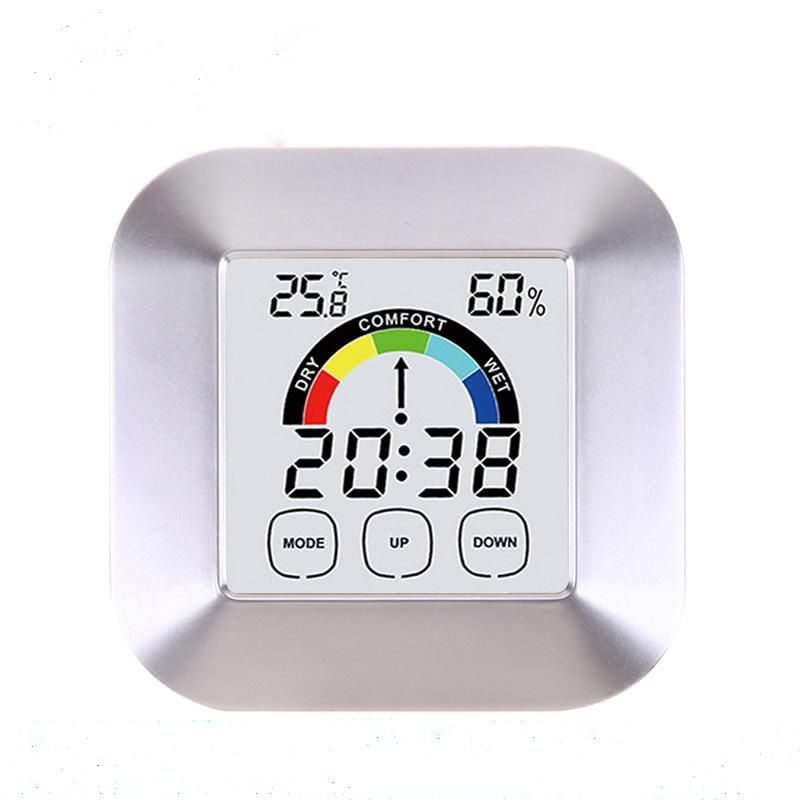 Household Touch Screen Digital Clock Temperature Humidity Display