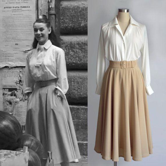 Audrey Hepburn Fashion Roman Holiday White Blouse Pleated Etsy Fashion Vintage Outfits Vintage Fashion