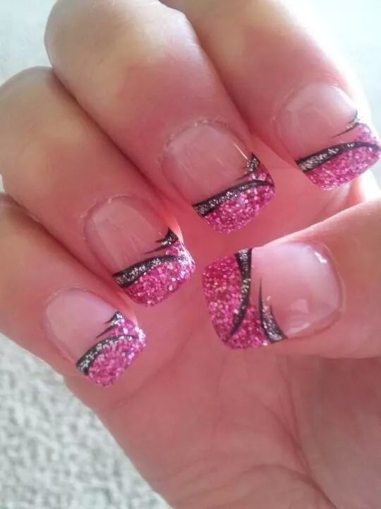 Pink glitter french tip nail desgins pinterest pink glitter french tip with nail art pink black silver prinsesfo Images