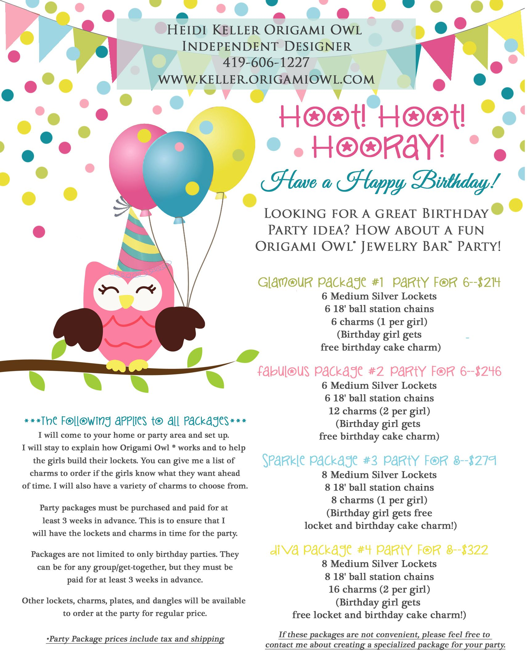 Origami Owl Jewelry Bar Birthday Party Packages Diva for a day ...