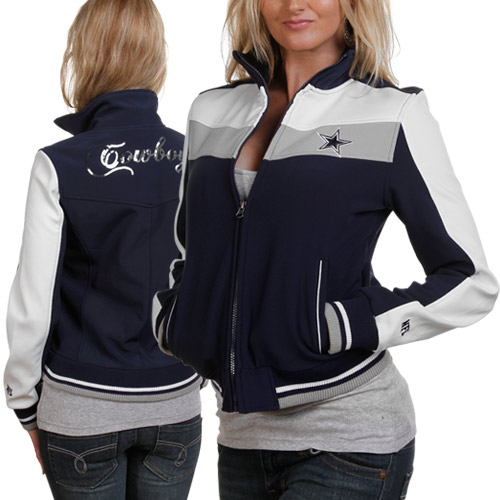 new style 722a4 dc0d8 Dallas Cowboys Ladies Navy Blue Bonded Softshell Full Zip ...