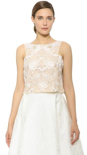 d0c2b480a Monique Lhuillier Sleeveless Crop Top