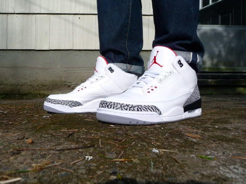 quality design 6ce15 b9475 Air Jordan White Cement Three s, cuffed skinny jeans