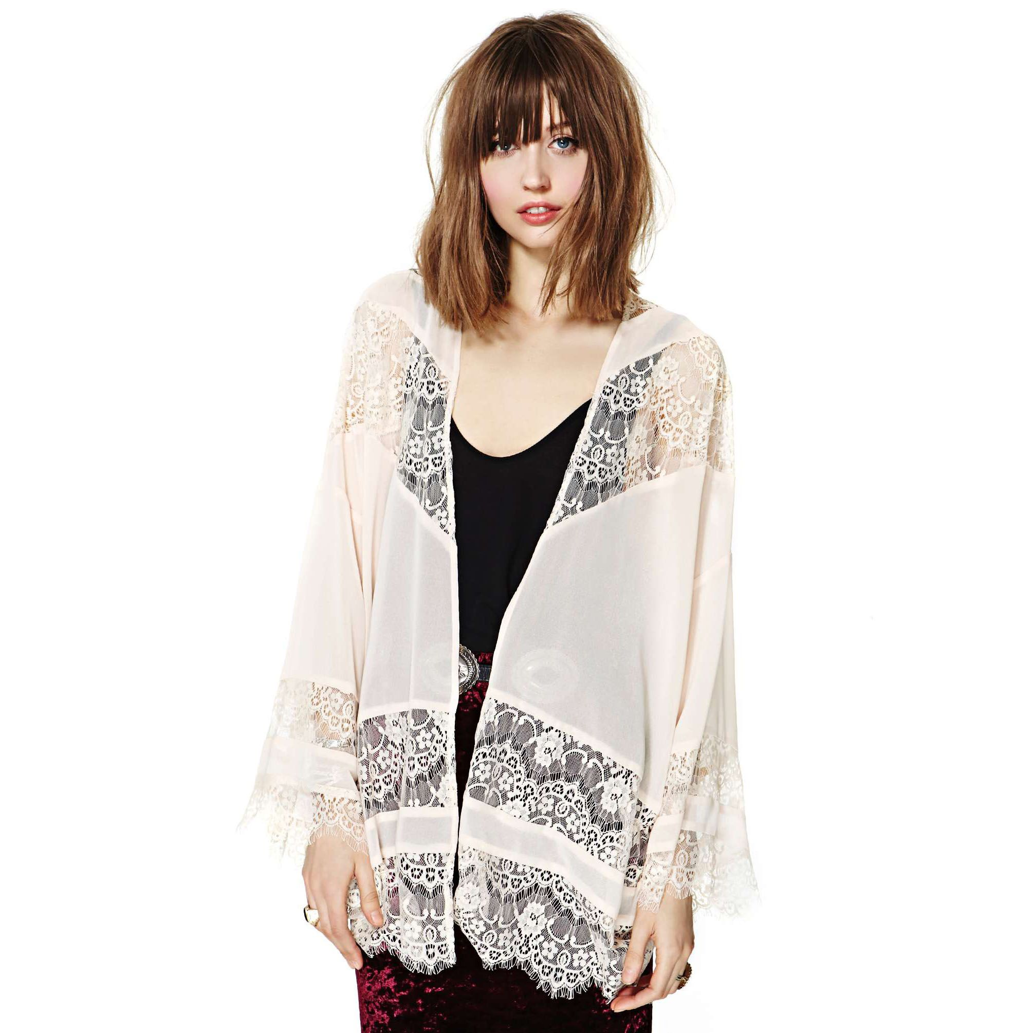 2014 Fashion Women Lace chiffon patchwork long-sleeve no button ...