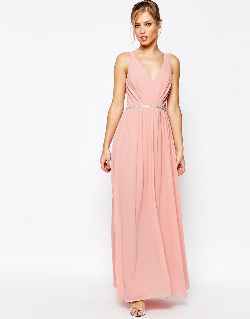Jarlo V Neck Maxi Dress In Chiffon With Embellished Waist