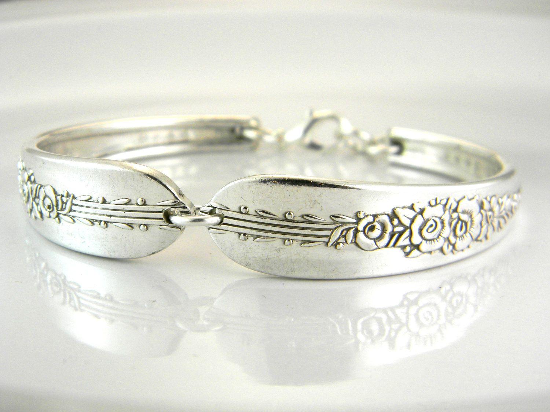 Spoon Bracelet, Silverware Jewelry, Spoon Jewelry, Silverware Bracelet, Bridesmaids Gifts, Vintage Wedding - 1939 ROYAL ROSE. $26.50, via Etsy.