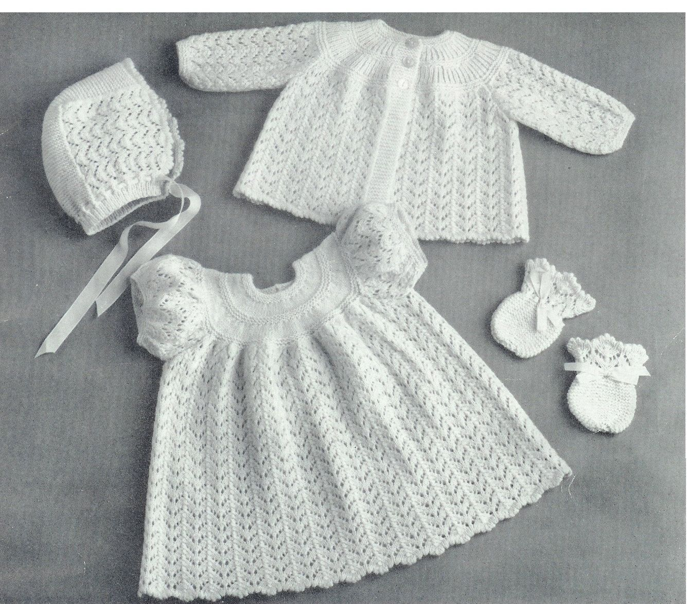 07ae140954bf Baby 3ply Matinee Jacket Dress Bonnet   Bootees by avintagescot ...