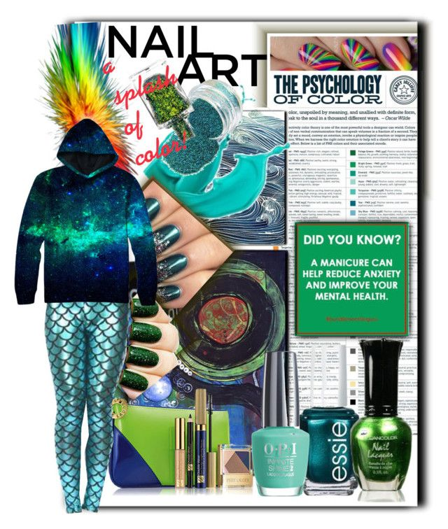 """Nail Art💚💙Splash of Color"" by tmcintyre on Polyvore featuring beauty, Estée Lauder, Essie, OPI and inailedit"