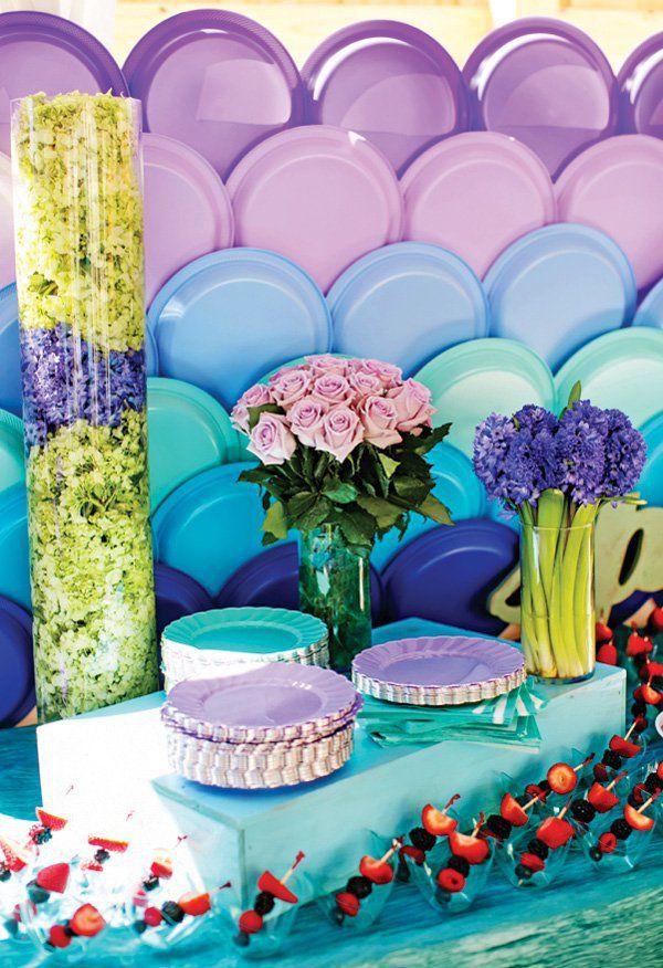 decoracin para fiesta con platos desechables