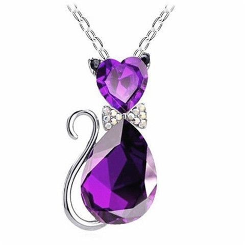 Crystal Cat Pendant Necklace – The Meow Shop