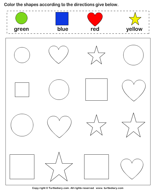 Color the shape Preschool worksheets