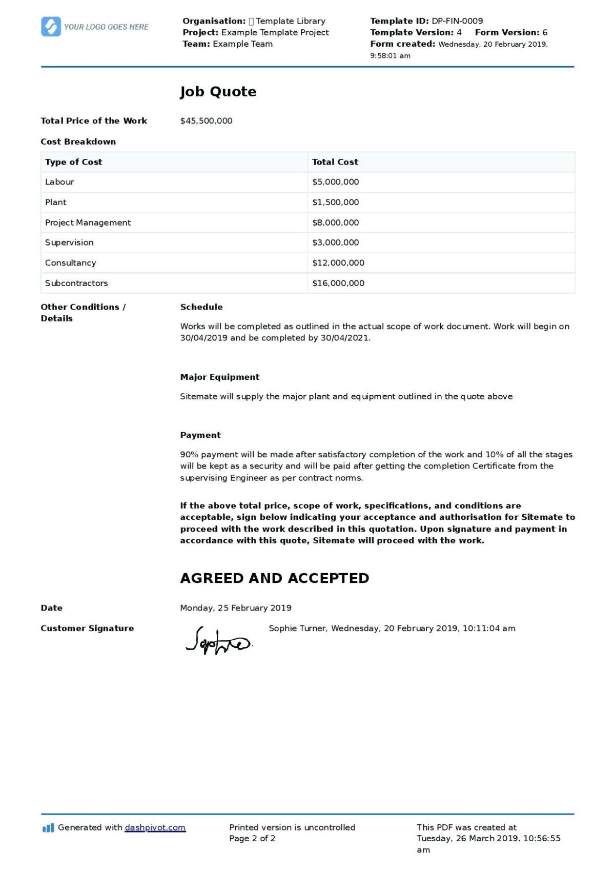 Certificate Of Completion Construction Template