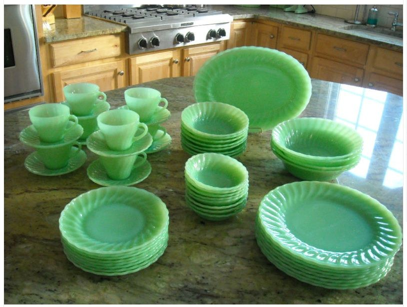 Fire King Jadite Dishes | ... for eight. Fire King by Anchor Hocking jadite dishes in shell pattern & Fire King Jadite Dishes | ... for eight. Fire King by Anchor Hocking ...