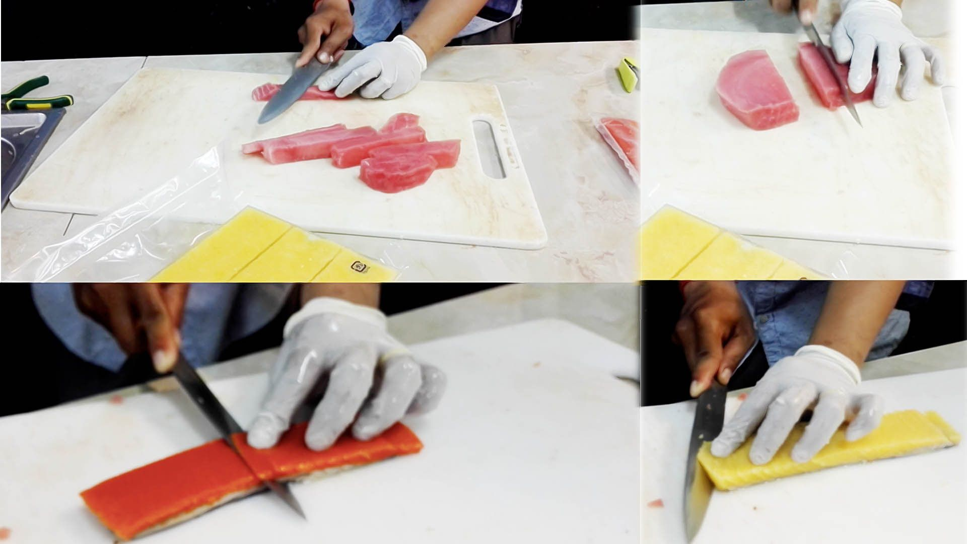 Asian Food | Japanese Food | Tuna Fish Meat, Red and Yellow Neshen In Ca...