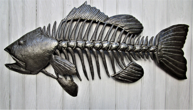 Fish Wall Hanging Small Mouth Bass Recycled Steel Drum Metal Fish Wall Decor Metal Wall Hang Outdoor Metal Art Metal Sculpture Wall Art Metal Wall Hangings