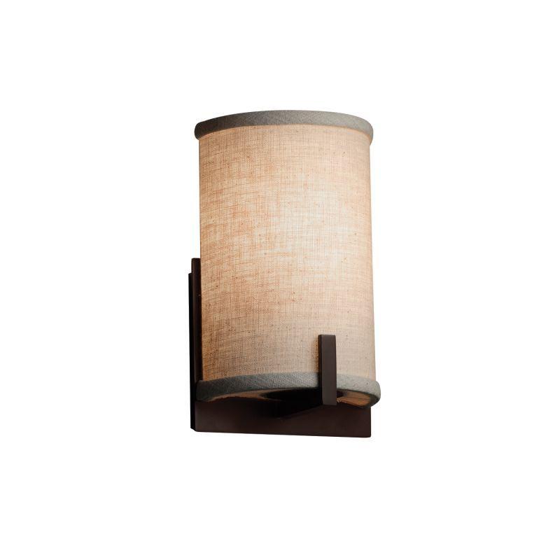 "Justice Design Group FAB-5531-CREM-LED1-700 Textile 5.5"" Century LED Single Ligh Dark Bronze Indoor Lighting Bathroom Fixtures Bathroom Sconce"