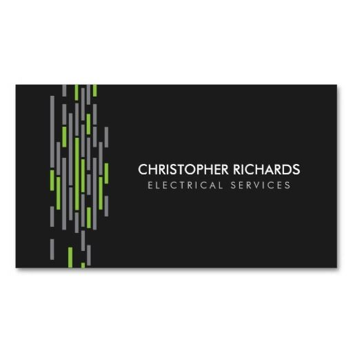 Electric lights green electrician business card pinterest modern business card for electricians ready to personalize easy to order fast shipping colourmoves