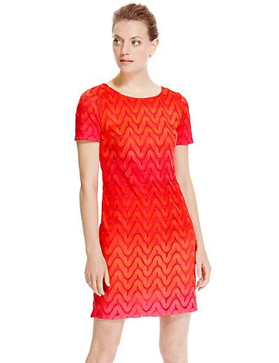Zig Zag Ombre Lace Shift Dress | M&S