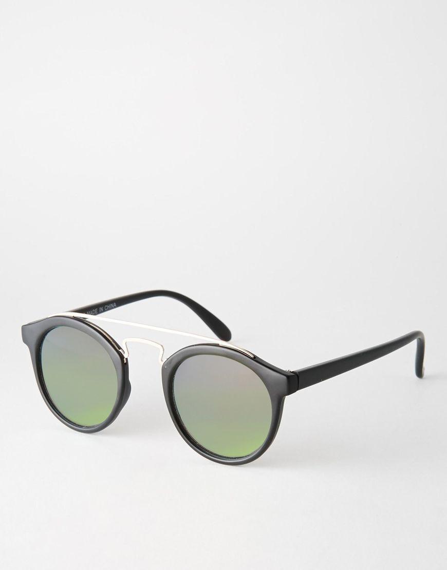 62a7670491edba ASOS Round Sunglasses With Metal Bridge High Bar   Flash Lens ...