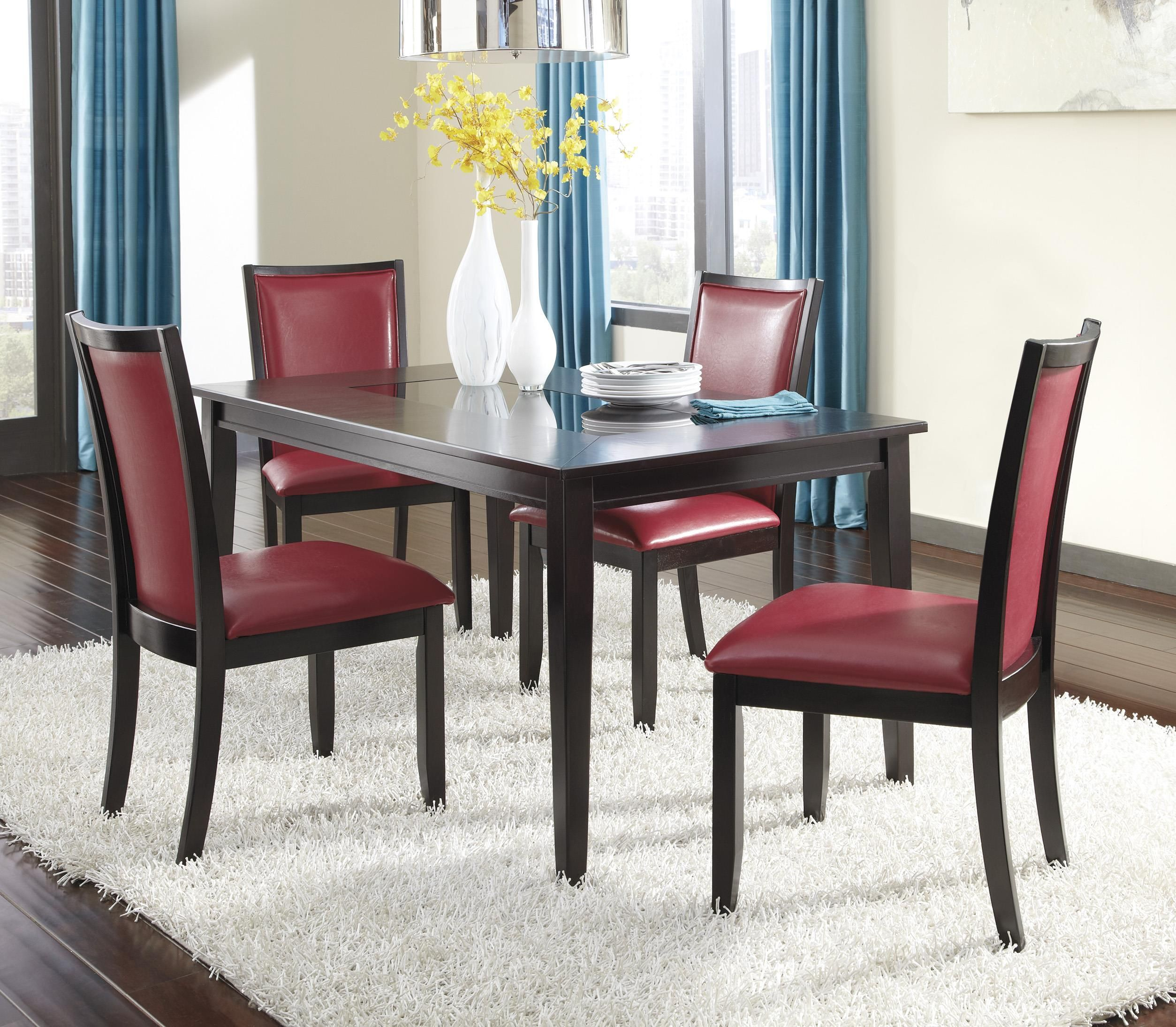 Trishelle 5 Piece Rectangular Dining Table Set With Red Chairs By