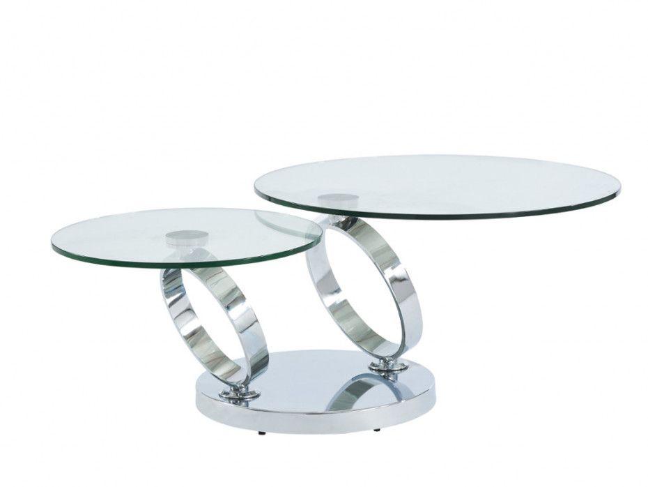 Table Basse Avec Plateaux Pivotants Joline Verre Trempe Table Basse Table Basse Verre Table Basse Modulable