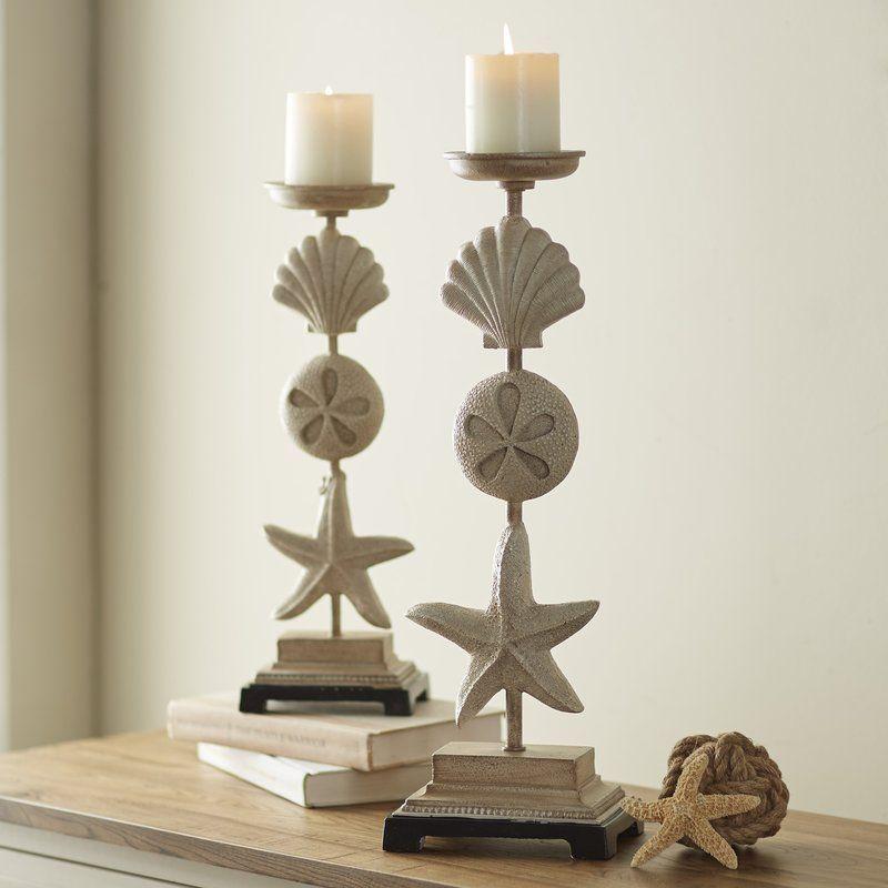 2 Piece Stone Candlestick Set Candle Holders Coastal Decor Wooden Lanterns