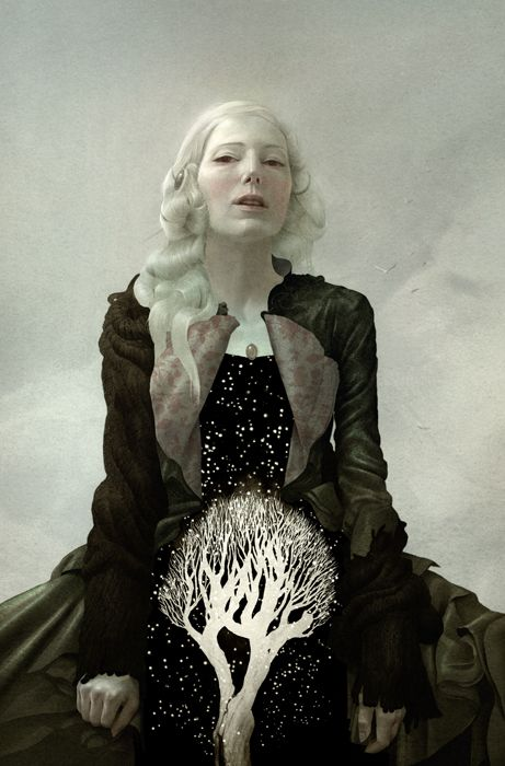 sam weber     Reminds me of the White witch even though it's really an illustration for a story that uses the character's from the Tempest by Shakespeare