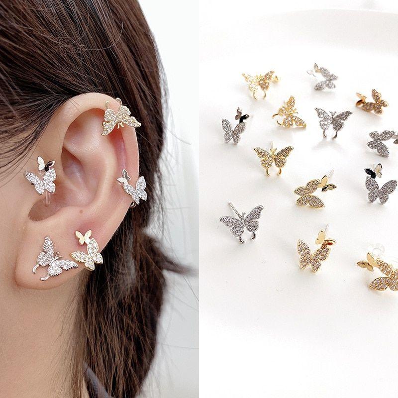 Tiny crystal butterfly earrings