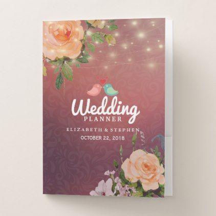 Burgundy Red Floral String Lights Wedding Planner Pocket Folder