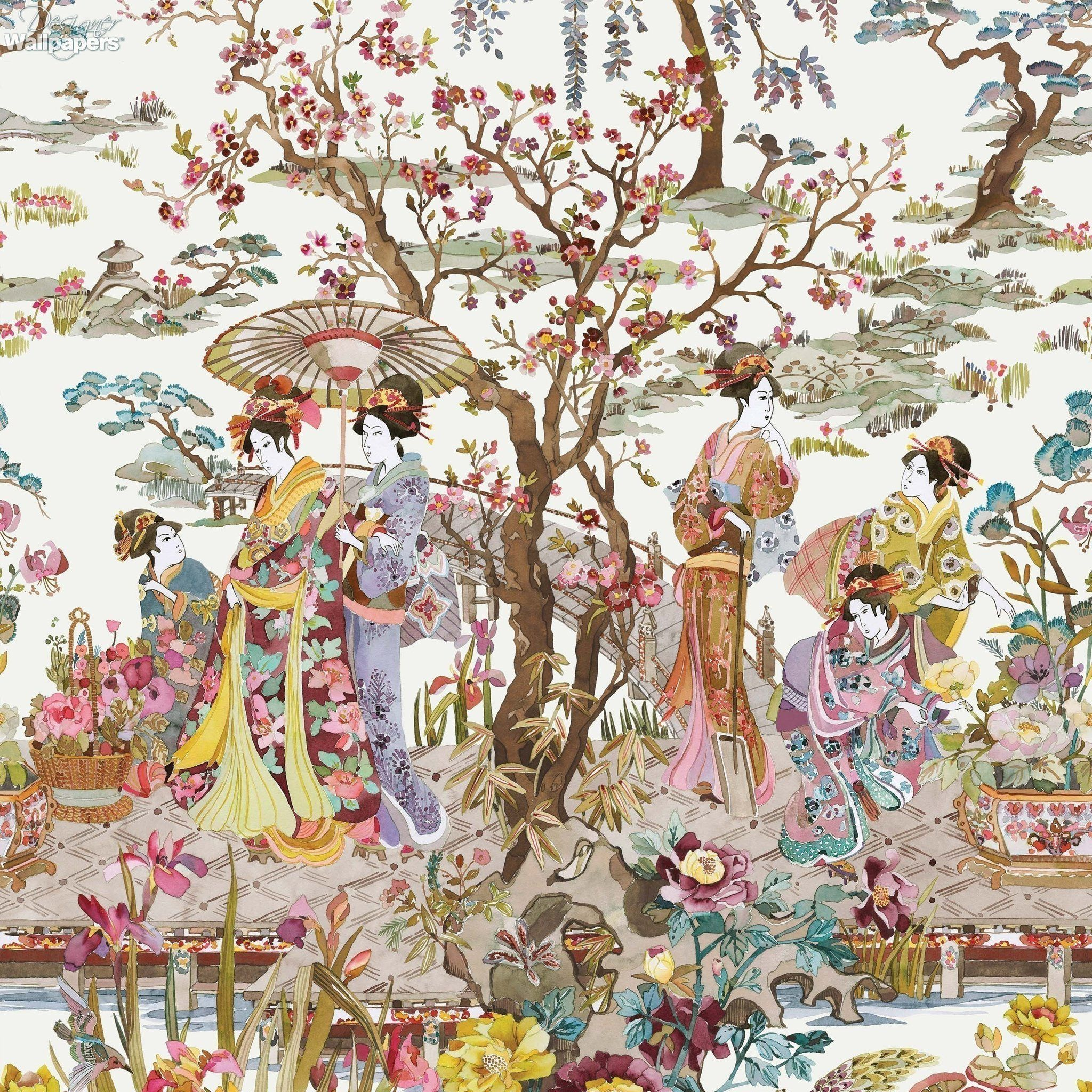 Japanese Garden Wallpaper In Ochre From The Enchanted