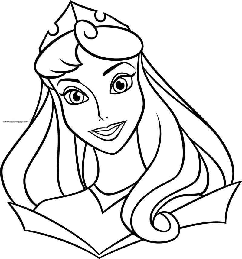 Disney Princess Aurora Big Face Near Reverse Coloring Page