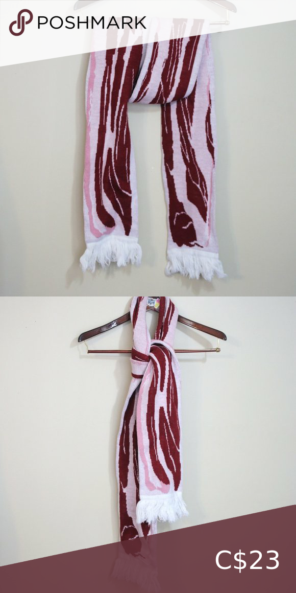 Photo of Raw bacon strip long knit thick winter scarf