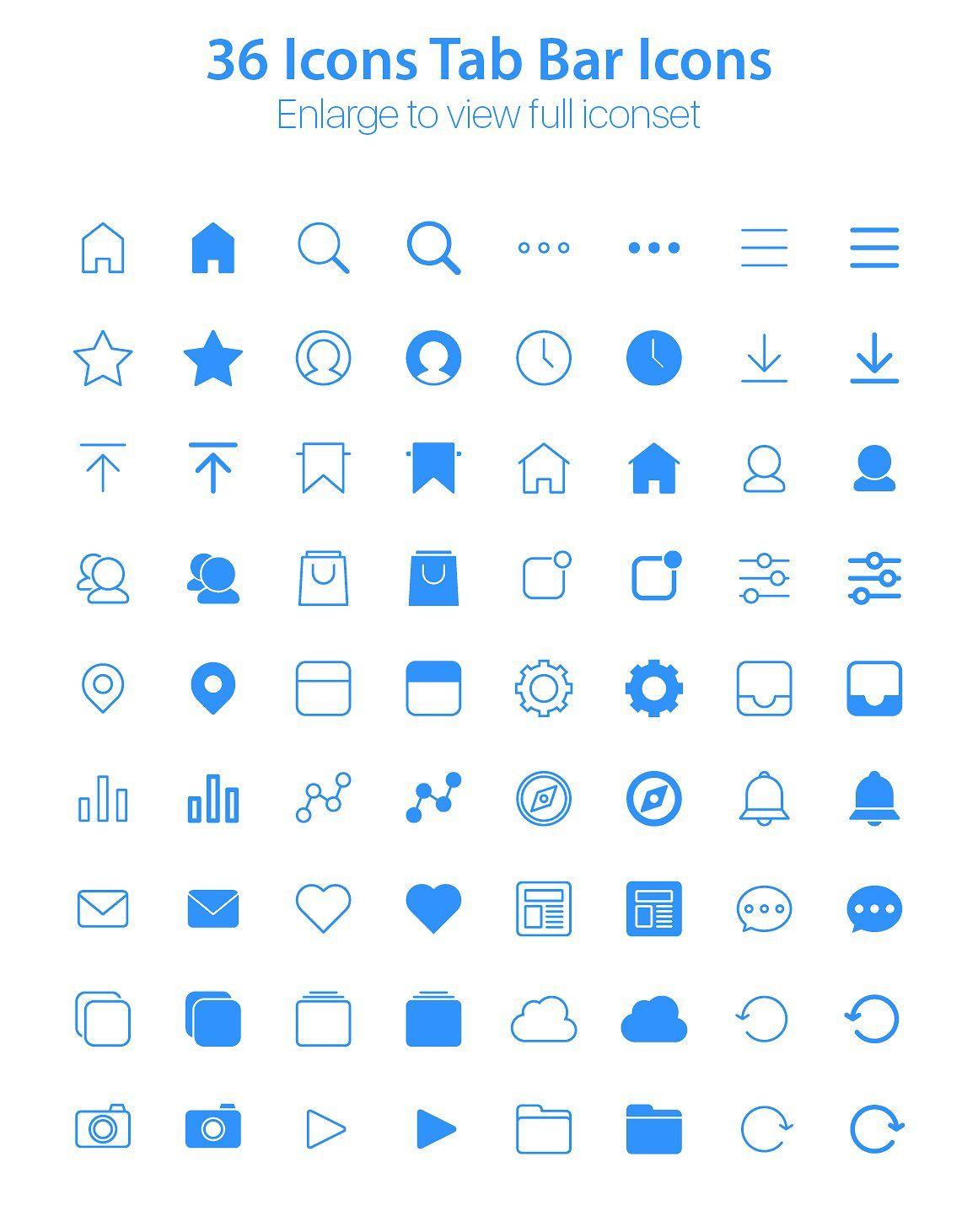 iOS Tab Bar Icons Essential Pack Icon, Ios icon