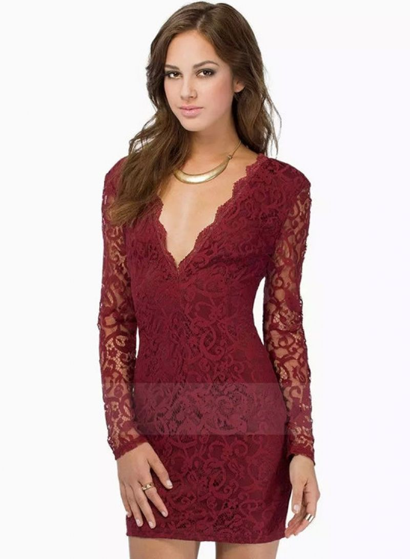 bdaee5da1111 Buy Wine Red V Neck Long Sleeve Lace Dress from abaday.com, FREE shipping