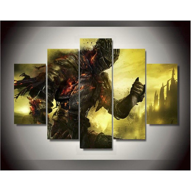 5 Panels High Quality Frame Canvas Painting Decor dark souls Wall ...