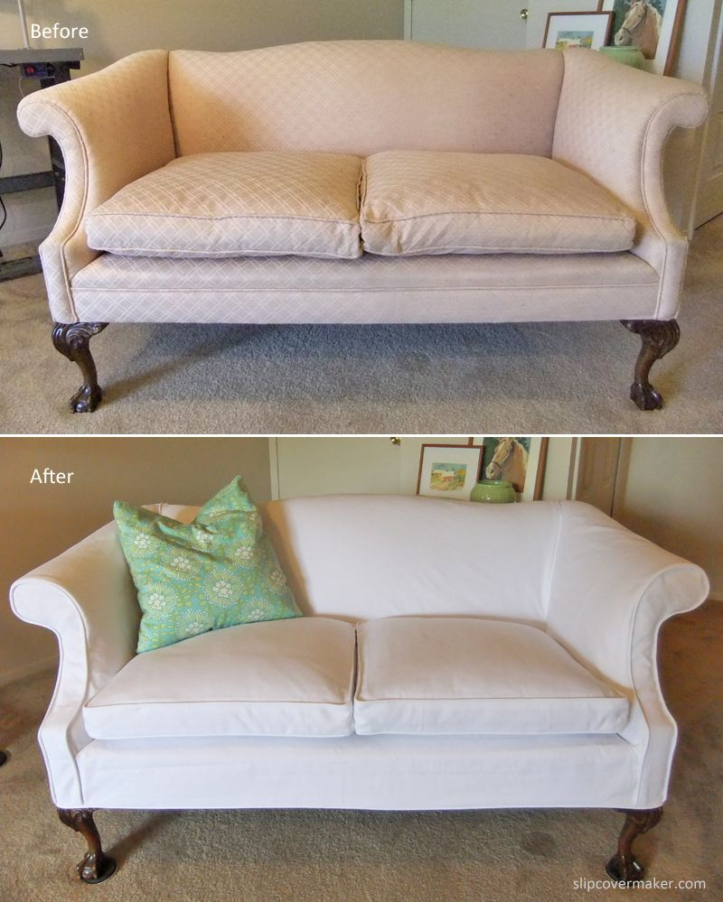 Merveilleux Washed White Denim Slipcover Custom Made For A Curvy, Vintage Love Seat.