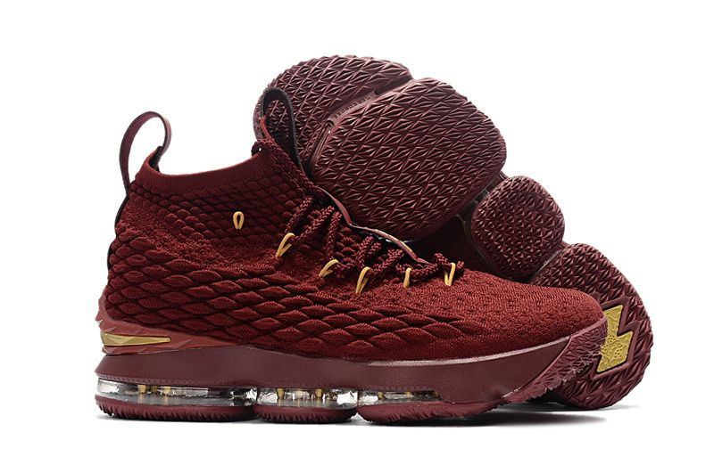 a83a96a29ac Nike LeBron 15 Wine Burgundy Gold Basketball Shoes For Sale