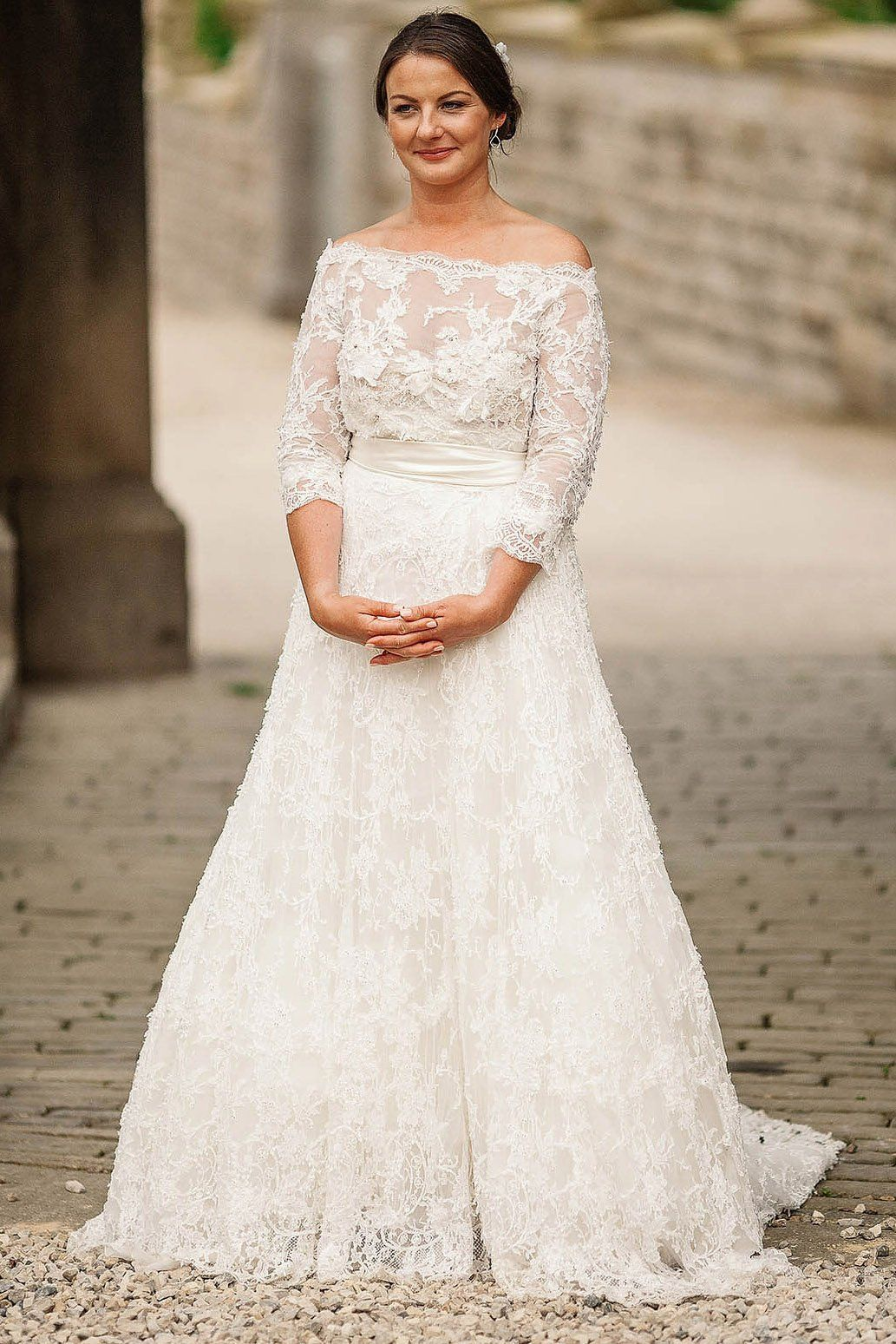 3 4 Sleeve Off The Shoulder A Line Sweep Train Lace Wedding Dress Jojobride Wedding Long Sleeve Wedding Dress Lace Wedding Dresses Nz Wedding Dresses Lace