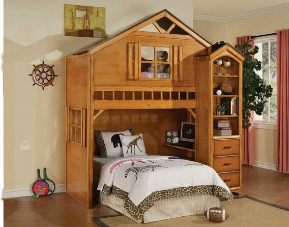 Tree House Style Rustic Oak Finish Wood Kids Loft Bed Bunk Bed Set This Set